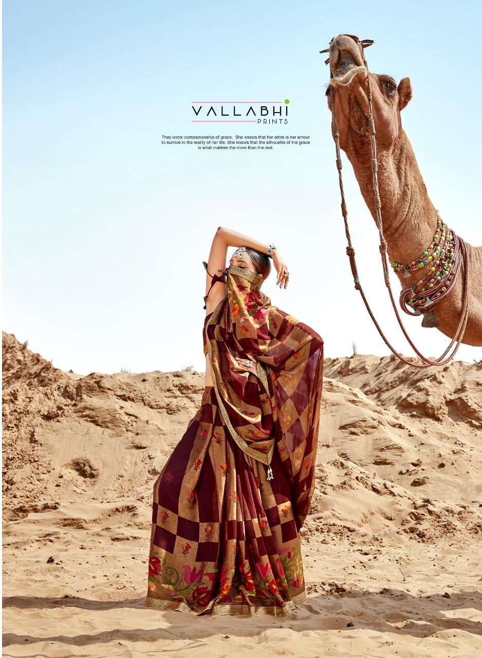 Vallabhi Presents Carvan Exclusive Chiffon Brasso Traditional Indian Look Saree