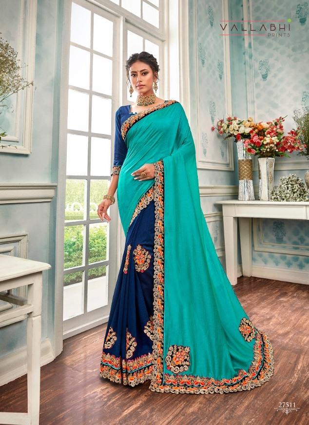 Wonderful By Vallabhi Print Vichitra Designer Wedding And Party Wear Half Half Pattern Saree