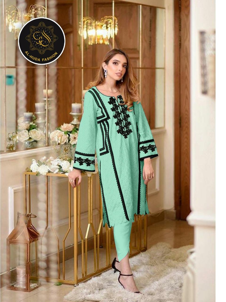 Al Huda Fashion Launch Al Huda D No 1117 Jam Satin Unique Top With Bottom Seller