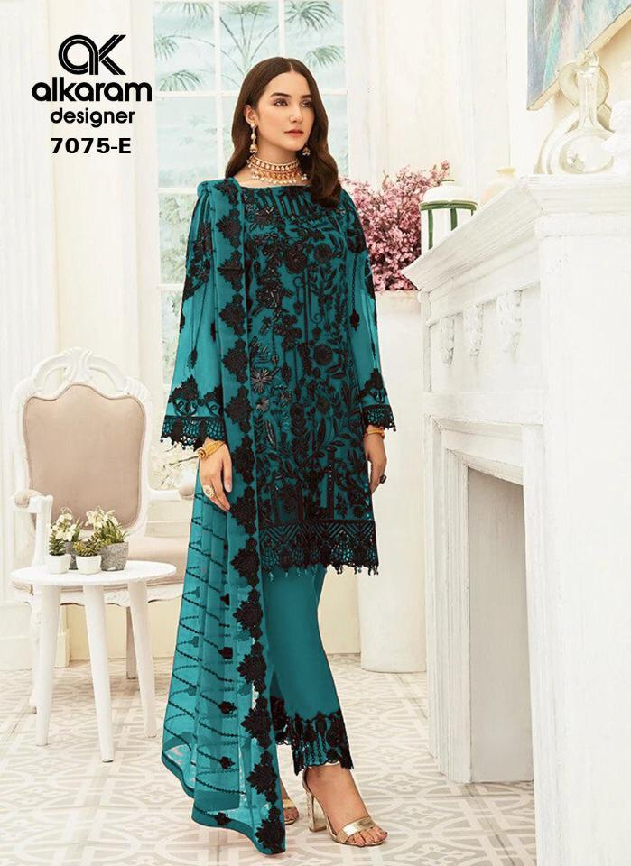 Alkaram Launch 7075 Series Vol 12 Heavy Net With Embroidery Party Wear Suits