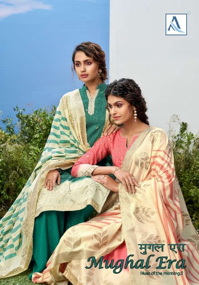 alok mughal era pure jam gold printed summer wear suits collection