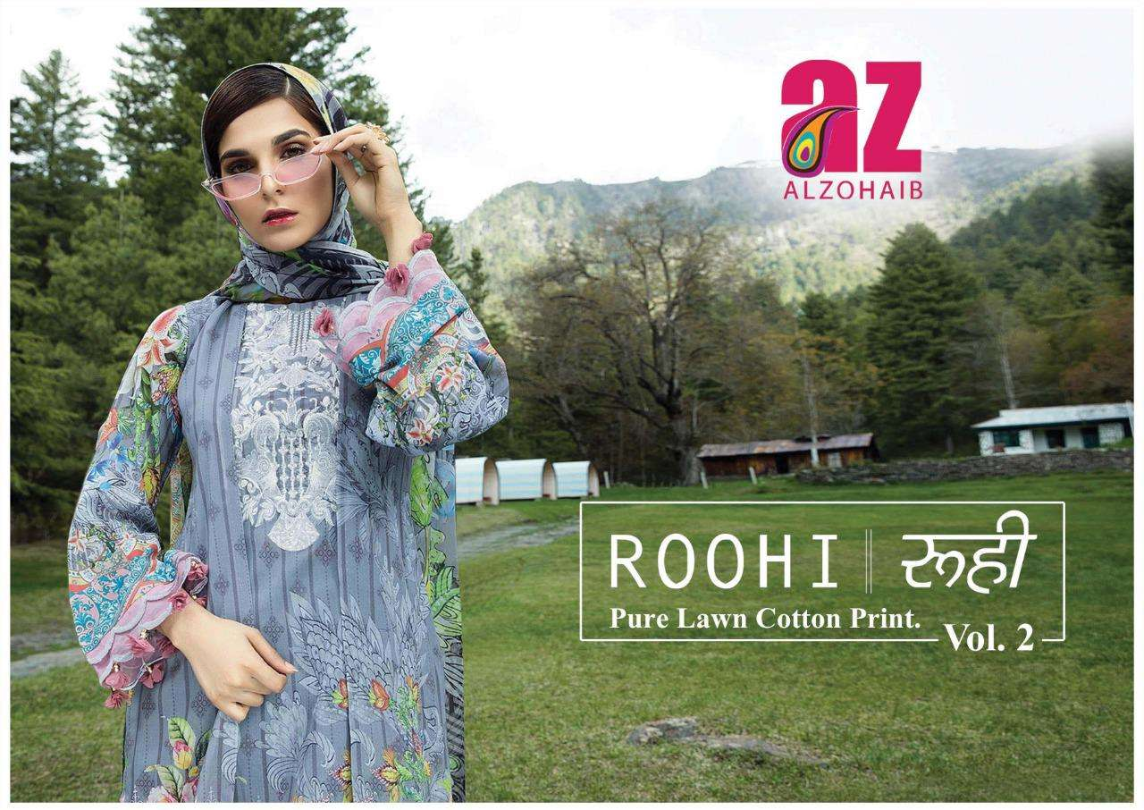 alzohaib roohi vol 2 lawn cotton printed suits wholesaler in surat