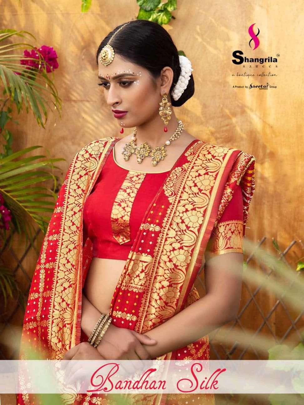 bandhan silk by shangrila traditional wear bandhani silk printed classy look designer saree