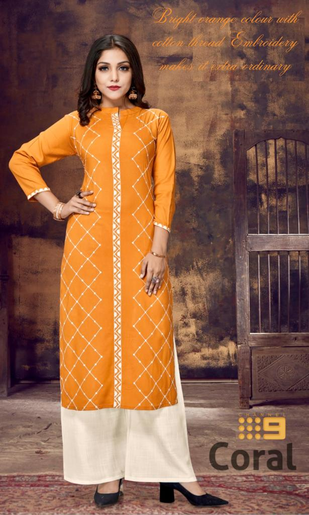 Channel 9 Launch Coral Exclusive Rayon Lucknowi Embroidery Work Kurti Trader