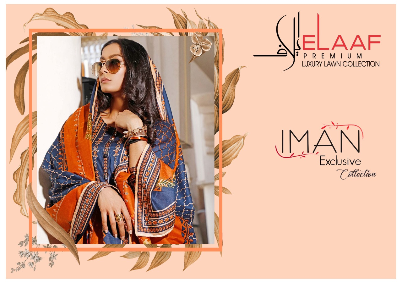 Elaaf Launch Iman Laxury Lawn Collection Cotton Daily Wear Salwar Suit