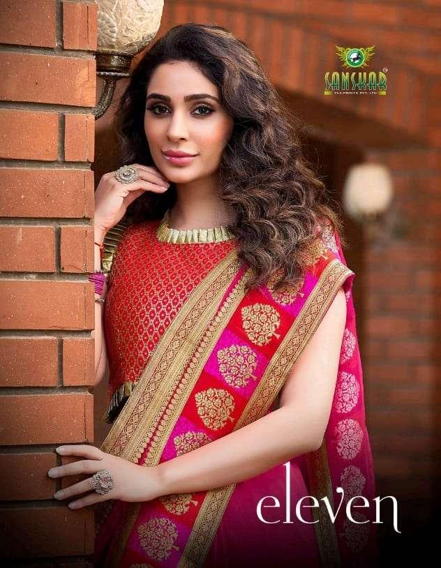 eleven by sanskar tex print fancy saree with rich border collection