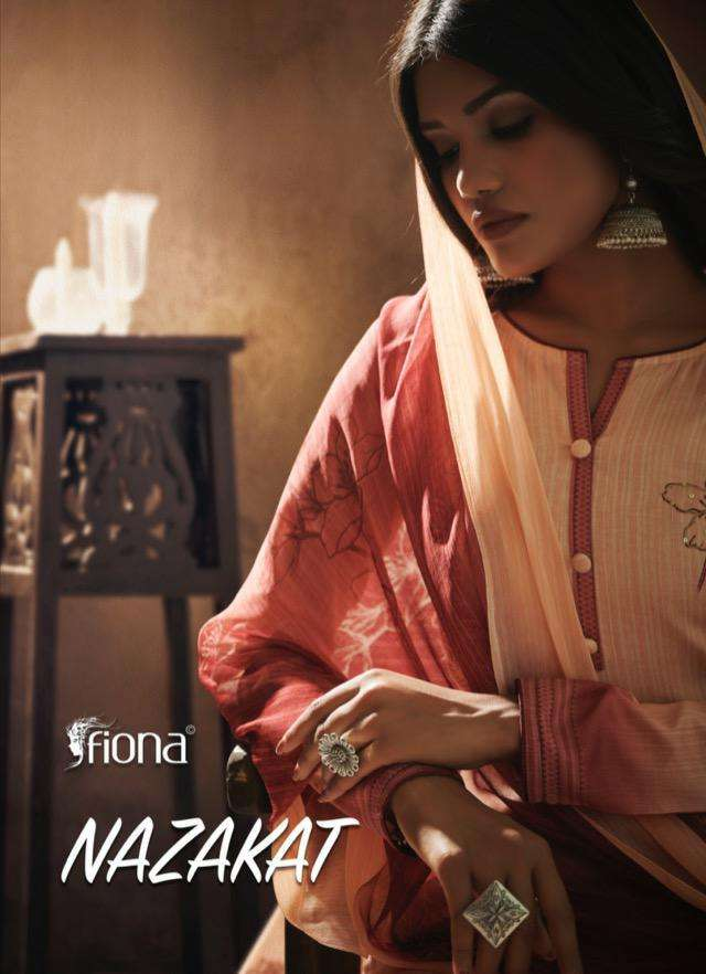 fiona launch nazakat jam silk with handwork dress materials