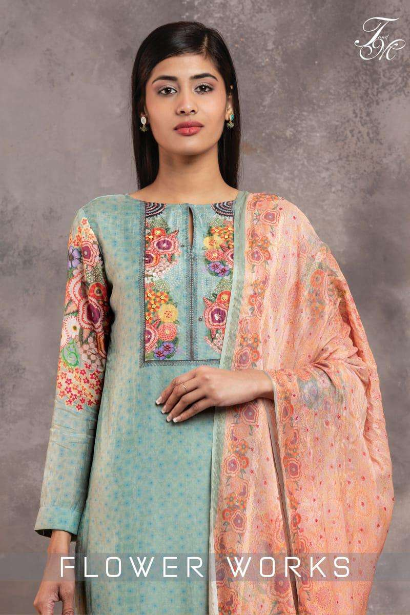 flower works by t&m silk digital print with handwork suits collection