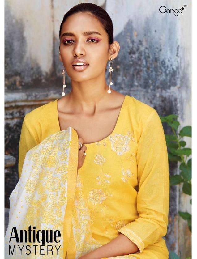 ganga antique mystery cotton printed embroidery salwar suits for women summer collection