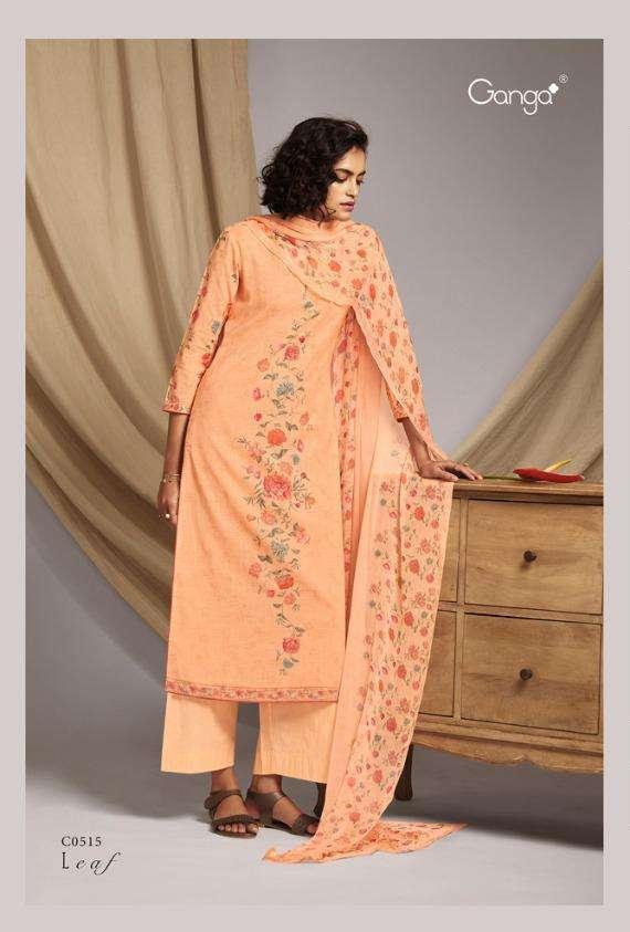 ganga leaf cotton linen summer wear fancy dresses collection