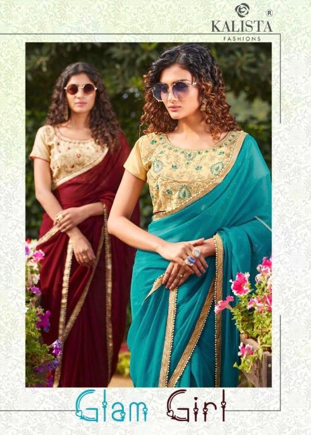 Glam Girl By Kalista Fashions Plane Saree With Readymade Blouse Pattern