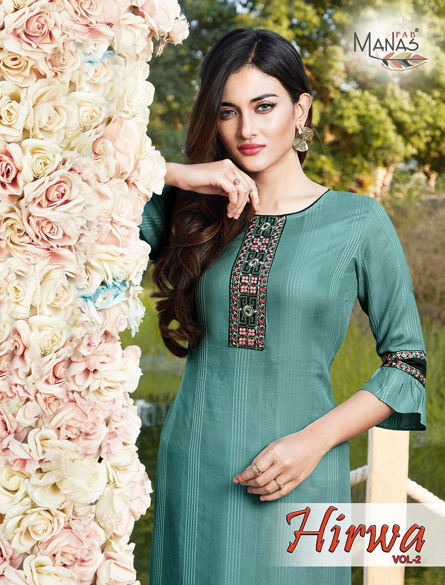 Hirwa Vol 2 By Manas Rayon Embroidery Ladies Long Top With Bottom Pair