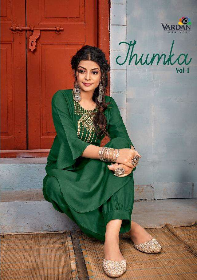 jhumka by vardan casual wear rayon embroidery kurti with pant collection
