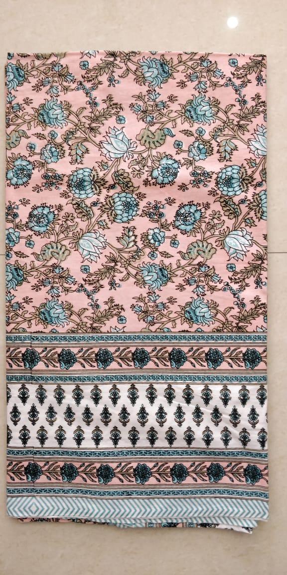K4u Satrangi King Size South Cotton Jaipuri Test Bedsheet With Matching Pillow Cover