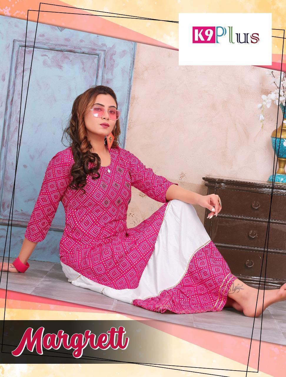 K9 Plus Margrett Rayon Bandhani Print Sharara Skirt With Top Pattern