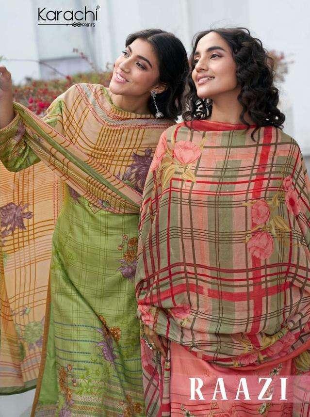 karachi prints raazi jam satin embroidery suits latest collection wholesaler