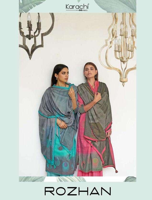 karachi prints rozhan lawn cotton printed suits for women wholesaler in surat market