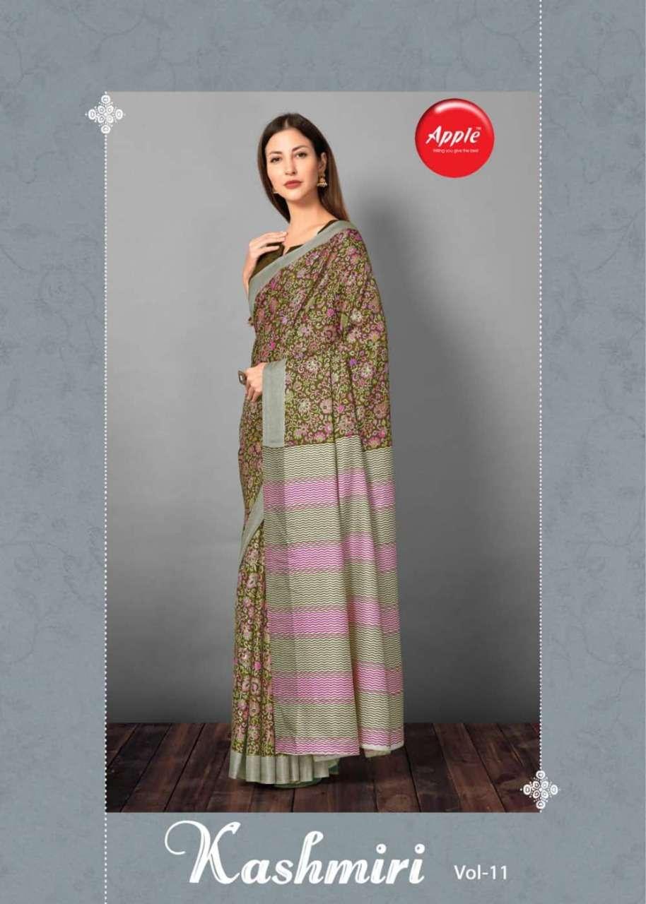 kashmiri vol 11 by apple pashmina silk printed daily wear saree collection