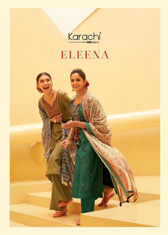 Kesar Karachi Eleena Jam Silk With Embroidery Work Salwar Suits