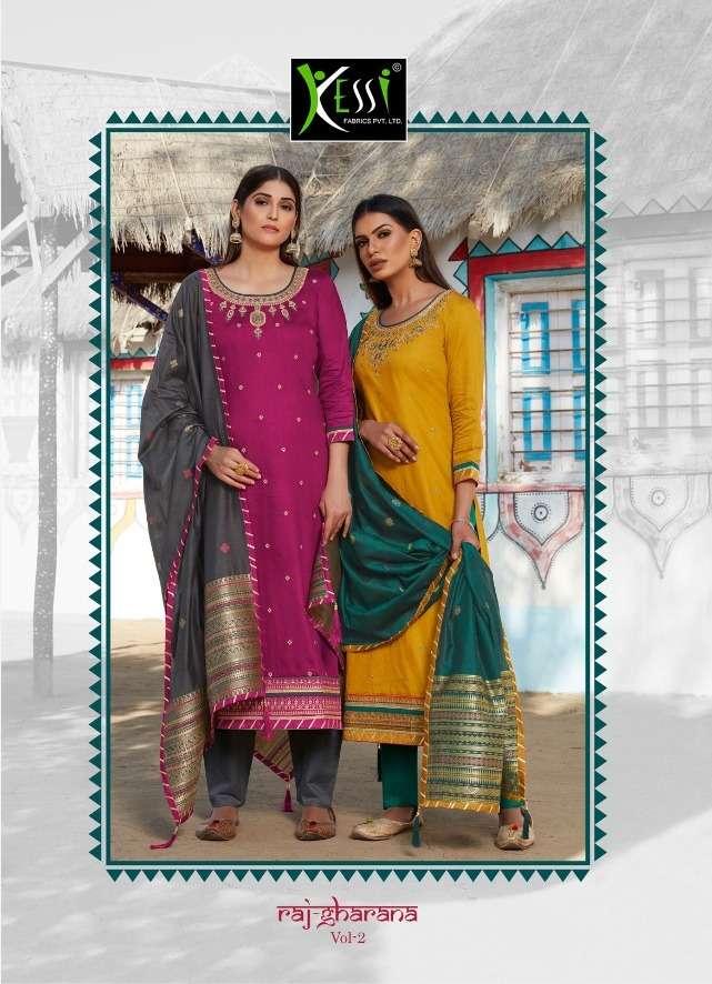 kessi raj gharana vol 2 jam silk khatli work ethnic suits online supplier