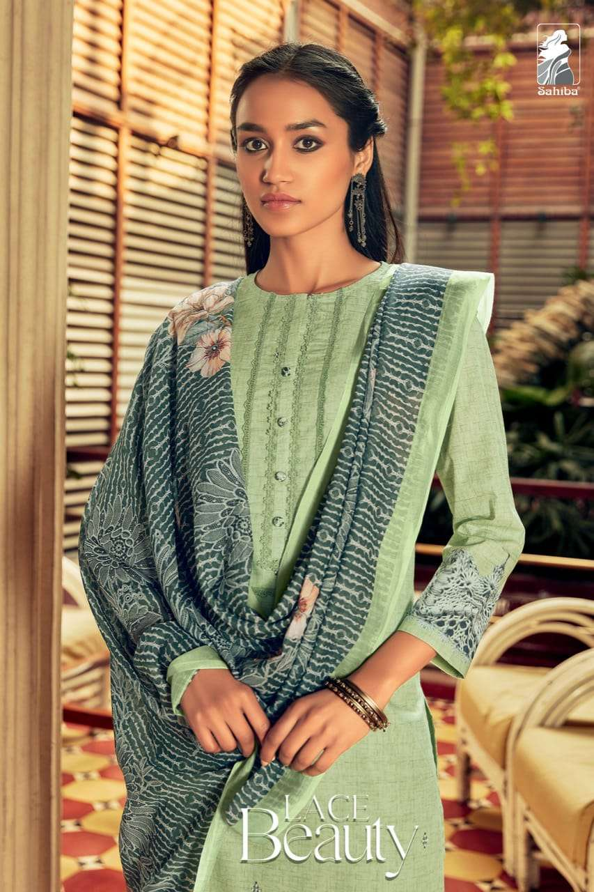 lace beauty by sahiba cambric cotton with hand work suits for 2021 summer wear