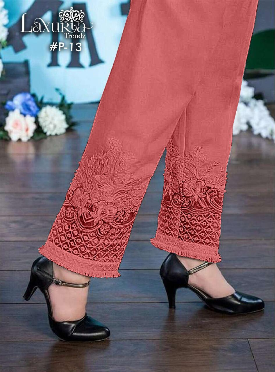 Laxuria Trendz Launch P13 Jam Satin Embroidery Cigarette Pant