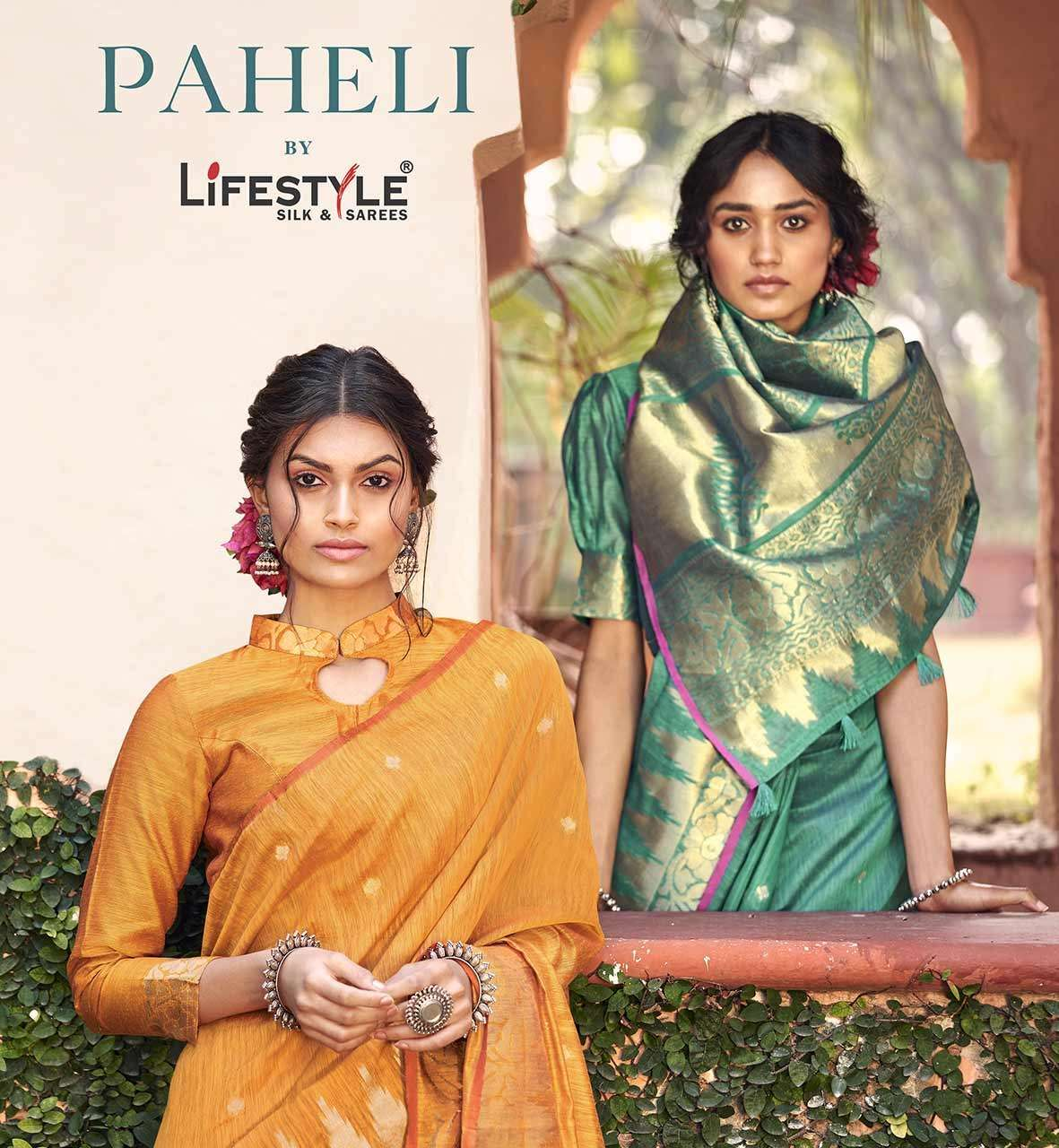 paheli by lifestyle linen silk traditional wear saree online supplier