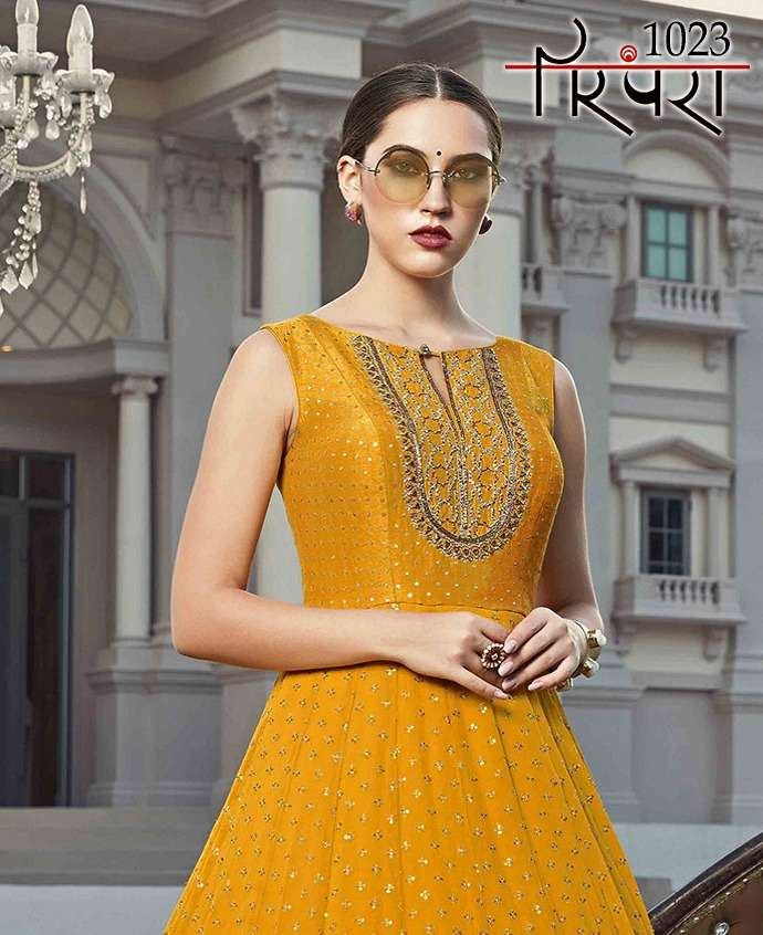 parampara vol 5 elegant stylish new gown with dupatta readymade collection