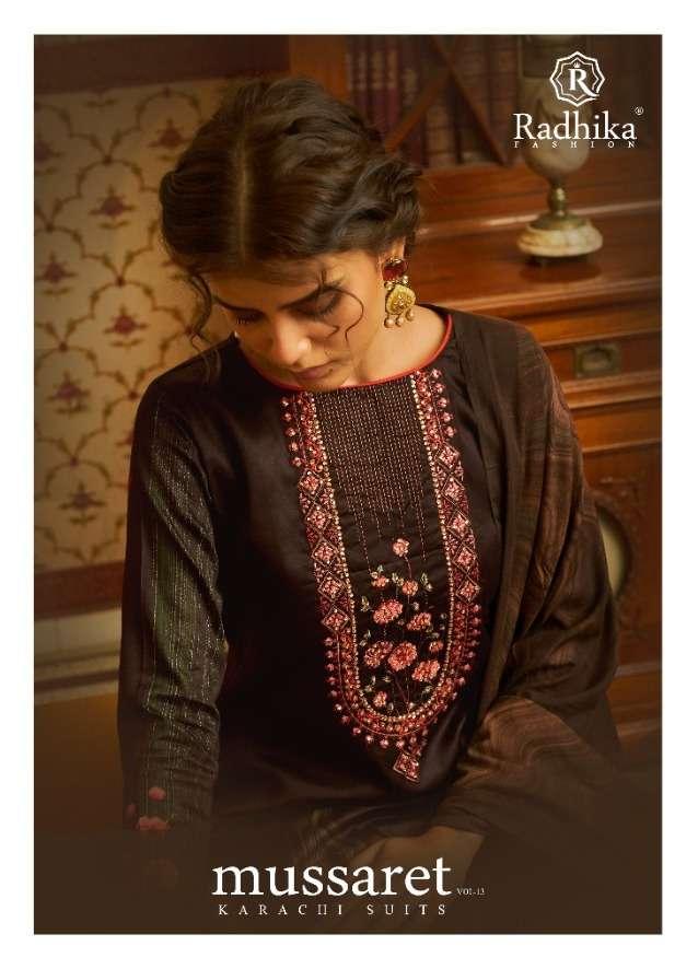 radhika mussaret vol 13 by azara jam cotton designer fancy dress collection