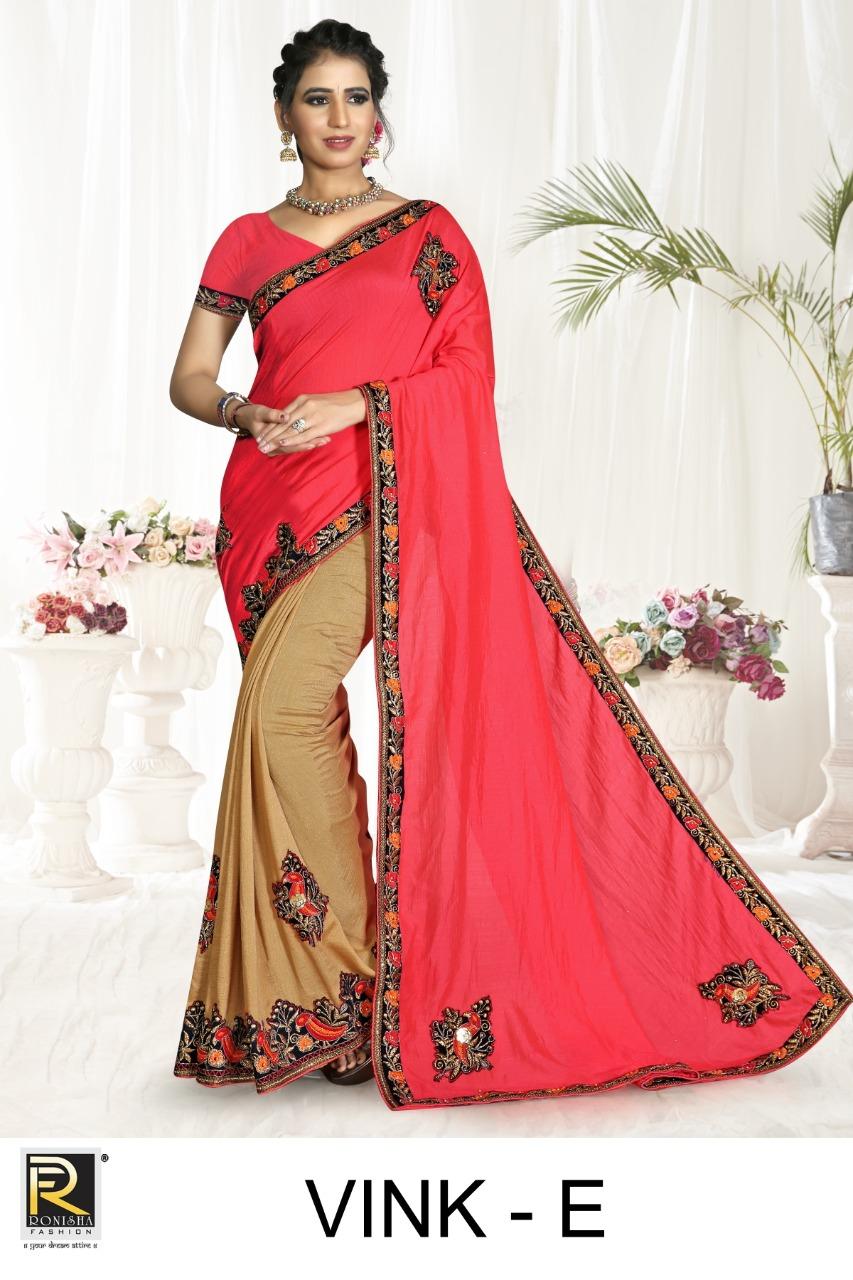 Ranjna Saree Vink Exclusive Vichitra Silk Half Half Style Saree Seller