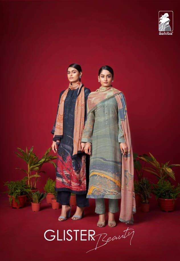 Sahiba Glister Beauty Miracle Silk Digital Print Exclusive Heavy Suits