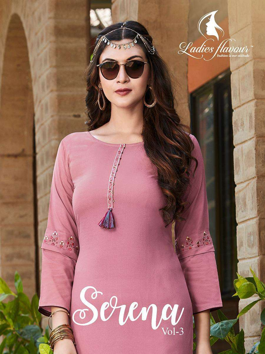serena vol 3 by ladies flavour rayon embroidery formal wear kurti collection
