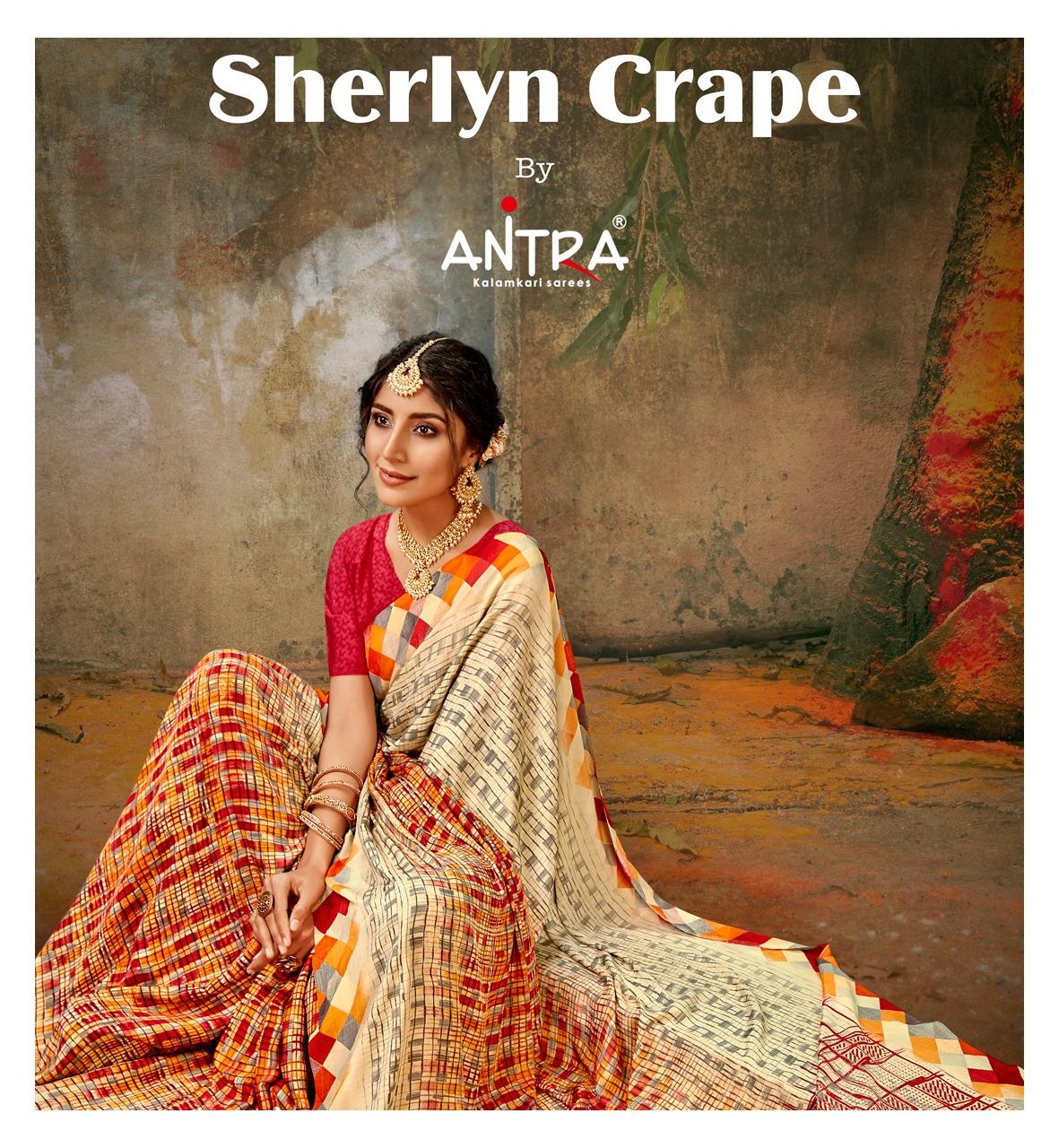 Sherlyn Crape By Antra Exclusive New Design Print Kasturi Crape Sraee