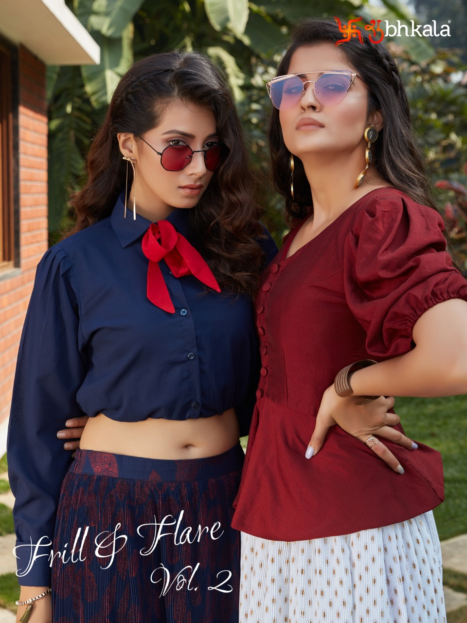 Shubh Kala Frill And Flare Vol 2 Cotton Imported Crop Top With Skirt