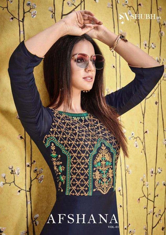 shubh nx afshana vol 1 long gown style designer kurtis wholesaler