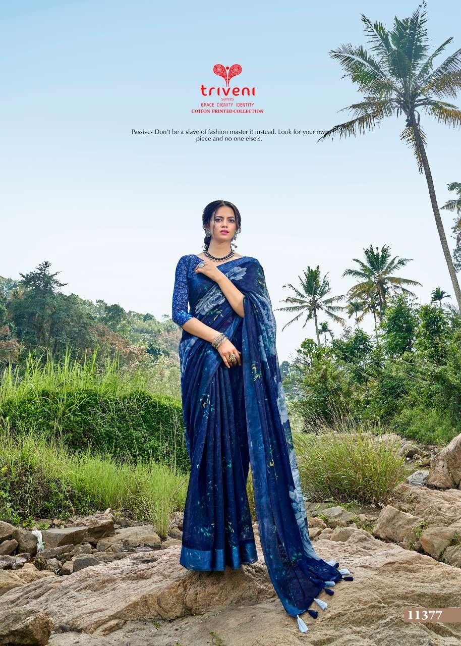 triveni launch panchee cotton linen summer wear saree catalogue