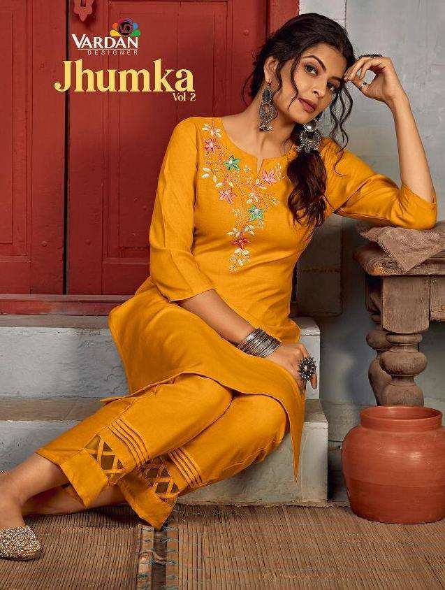 vardan designer jhumka vol 2 rayon kurti with pant set wholesale rate in surat