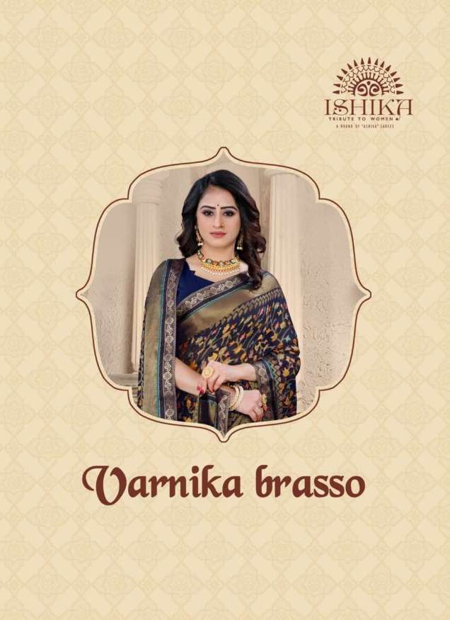 varnika brasso by ishika chiffon brasso printed fancy saree