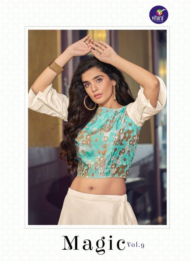 Vitara Magic Vol 9 Important Silk Crop Top With Skirt Collection