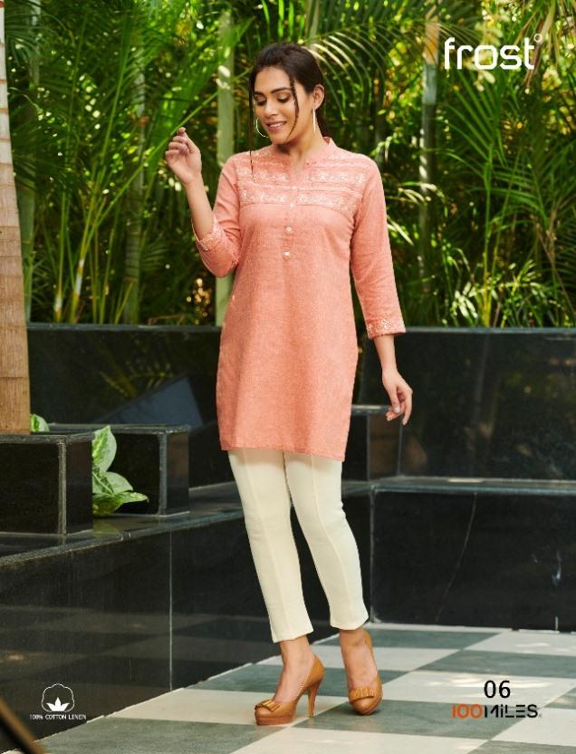 100 Miles Frost Linen Cotton Short Style Kurti Catalogs Seller In Surat Market