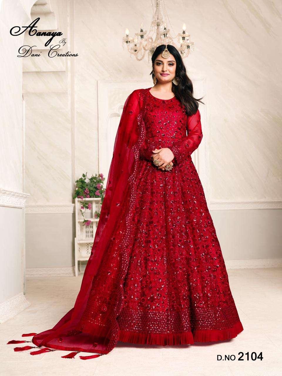 aanaya vol 121 by dani fashion net embroidery long anarkali suits