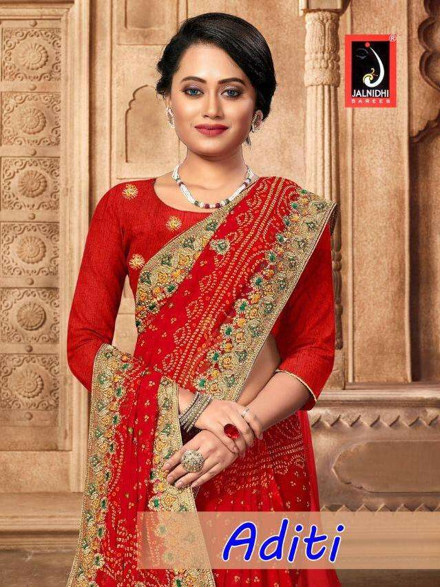 aditi by jalnidhi georgette embroidery bandhani saree collection