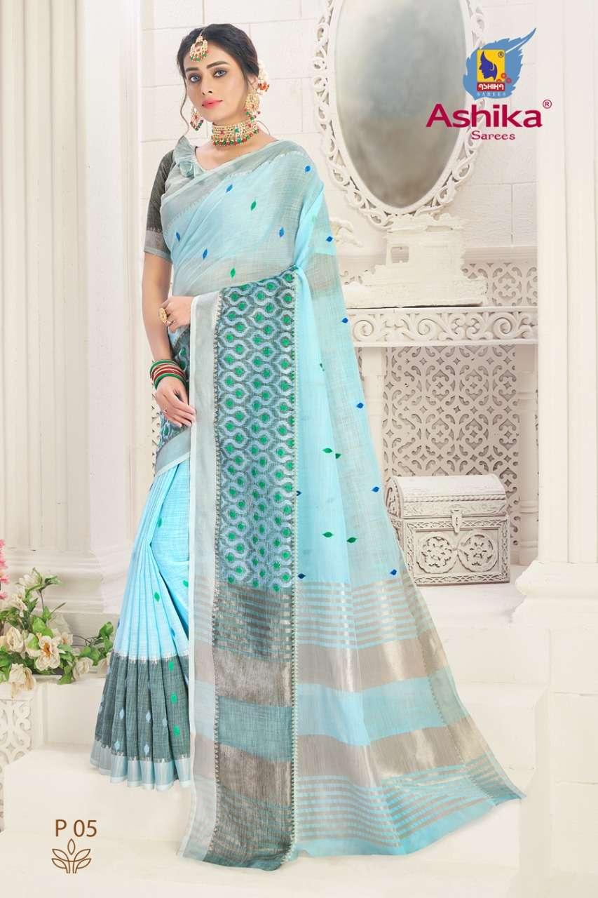 ashika sarees panchvati linen with embroidery elegant sari for women