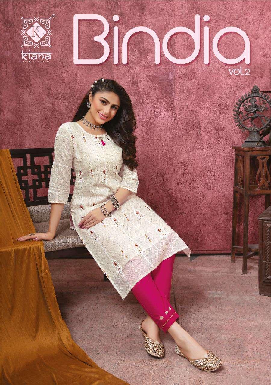 bindia vol 2 by kiana cotton rayon kurti with bottom pair collection