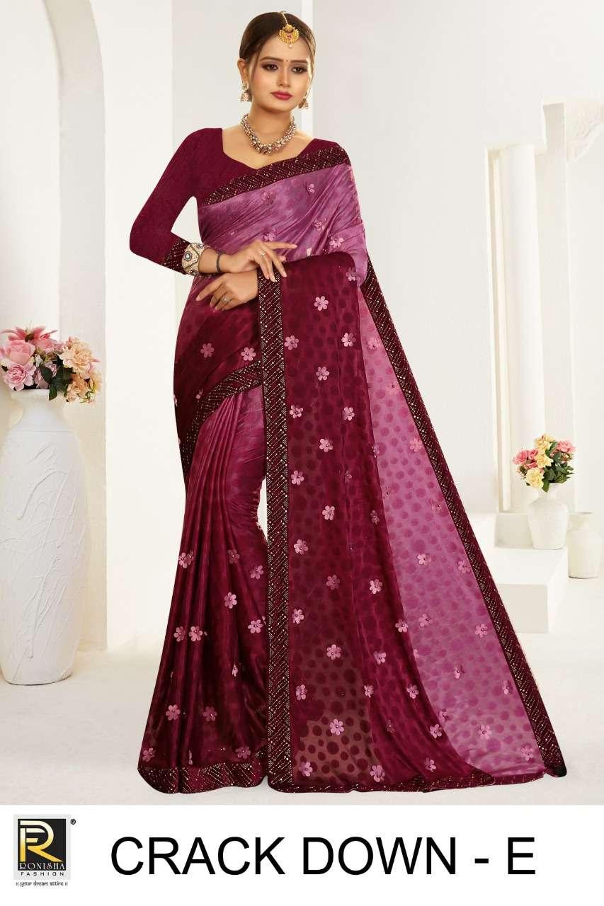 Crack down by ranjna saree siroski work fastiv wear saree Collection
