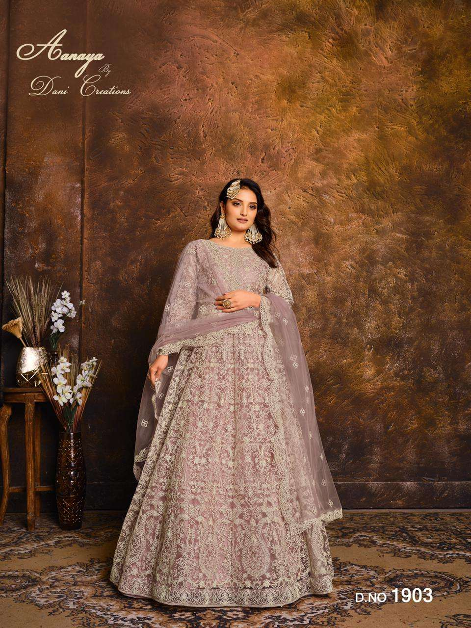 dani fashion aanaya vol 119 net with work long anarkali suits wholesaler
