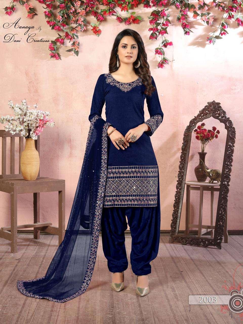 dani fashion aanaya vol 120 art silk glass work patiyala dresses seller