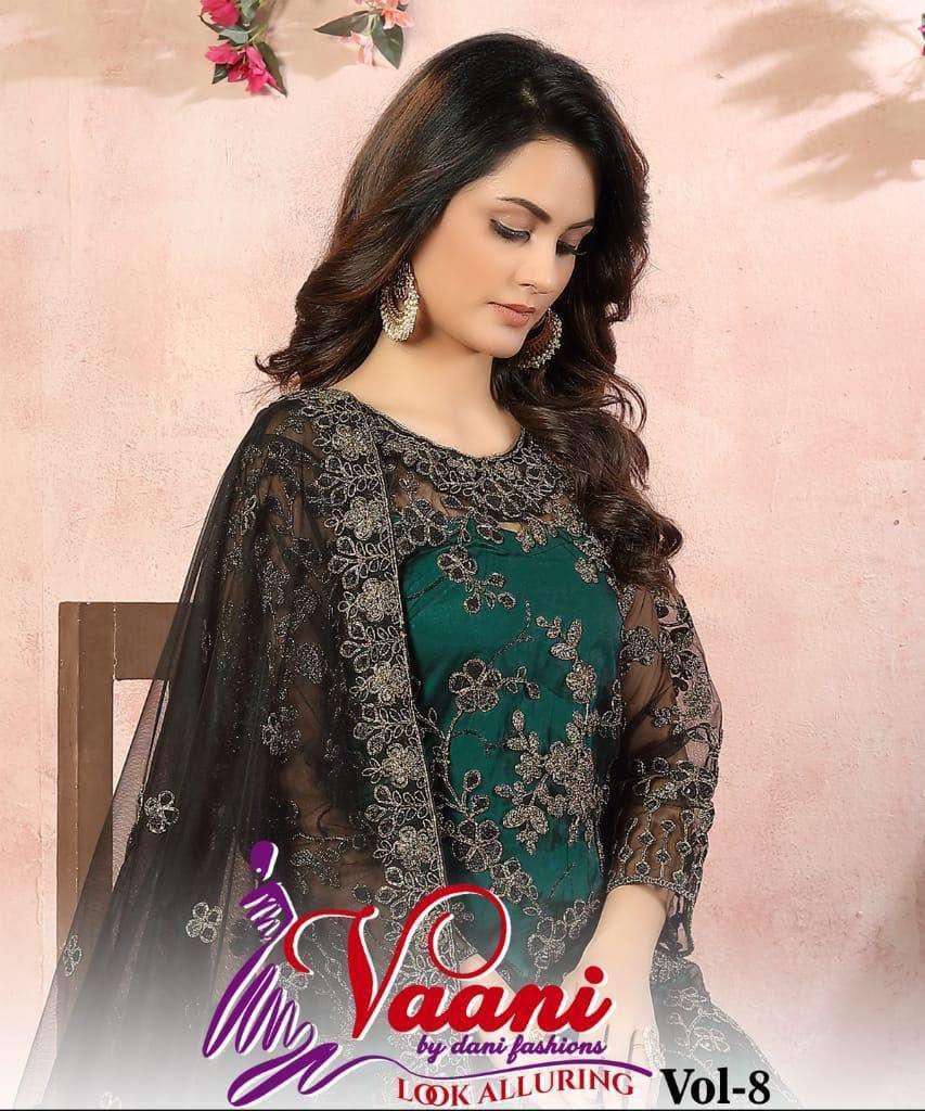 dani fashion vaani vol 8 net with work chudidar salwar kameez