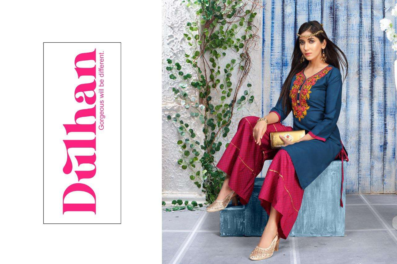 dulhan by fashion talk heavy rayon kurti with sarara Catalog Collection Wholesaler Lowest Best Price In Ahmedabad Surat Chennai India Uk Usa Malaysia Singapore Canada Australia