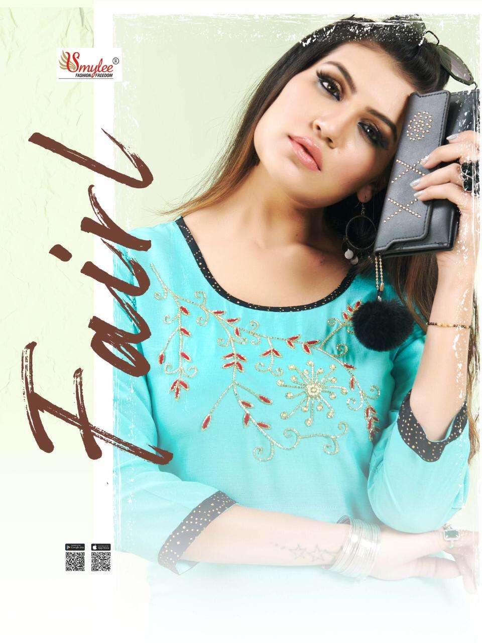 fairl by rung rayon embroidery kurti with ghaghra collection